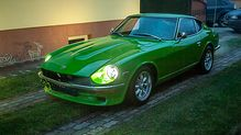Final stages of a classic car restoration on this Green Datsun 240z for sale online